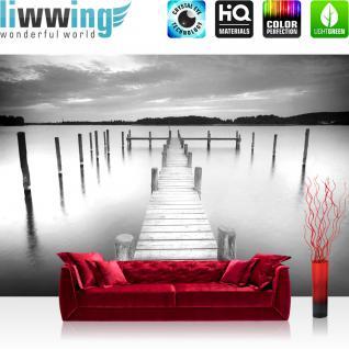 liwwing Vlies Fototapete 312x219cm PREMIUM PLUS Wand Foto Tapete Wand Bild Vliestapete - Wasser Tapete Steg Wasser See Holz Himmel schwarz weiß - no. 3009