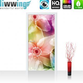 liwwing Vlies Türtapete 91x211 cm PREMIUM PLUS Tür Fototapete Türposter Türpanel Foto Tapete Bild - Blumen Seide Malerei - no. 1011