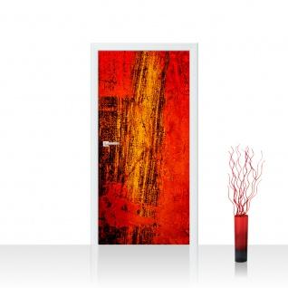 Türtapete - Paint it Red abstrakt 3D Wand Rot braun Hintergrund | no. 103