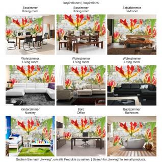 Fototapete Holz Tapete Blumen Pflanzen Natur Holzwand Holz bunt | no. 3107 - Vorschau 3
