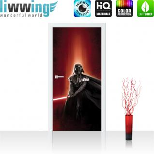liwwing Türtapete selbstklebend 91x211 cm PREMIUM PLUS Tür Fototapete Türposter Türpanel Foto Tapete Bild - STAR WARS Darth Vader Kämpfer Laserschwert - no. 454