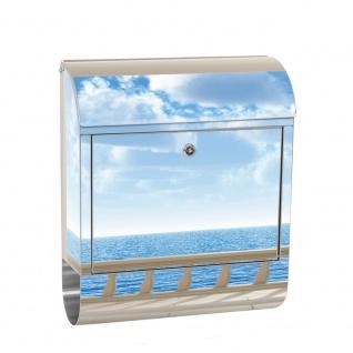 Edelstahl Wandbriefkasten XXL mit Motiv & Zeitungsrolle   Ausblick 3D Strand Meer Sonne Wolke Himmel   no. 0122