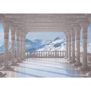 Fototapete Berge Tapete Terrasse Balkon Berge Schnee Gipfel Alpen weiß | no. 2085