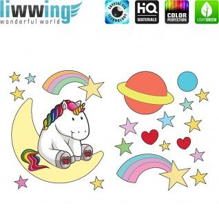 Wandsticker - No. 4765 Wandtattoo Sticker Einhorn Unicorn Pony Herzen Regenbogen Sternschnuppen Mond Planeten