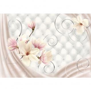 Fototapete Blumen Tapete Blumen Blüten Diamant Schnörkel Tuch Schwung weiß | no. 951