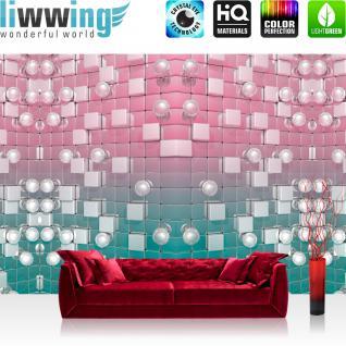 liwwing Fototapete 368x254 cm PREMIUM Wand Foto Tapete Wand Bild Papiertapete - Kunst Tapete Design 3D Quadrate Kugeln Muster silber - no. 3039