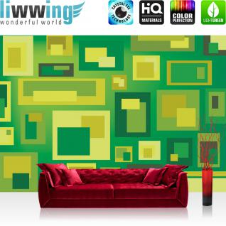 liwwing Vlies Fototapete 208x146cm PREMIUM PLUS Wand Foto Tapete Wand Bild Vliestapete - Gemälde Tapete Gemälde Kunst Kacheln Rechtecke Malerei Design grün - no. 1431