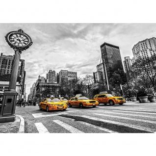 Fototapete New York Tapete Stadt Taxis Uhr New York schwarz - weiß | no. 2661