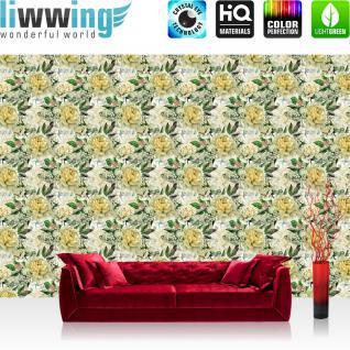 liwwing Vlies Fototapete 254x184cm PREMIUM PLUS Wand Foto Tapete Wand Bild Vliestapete - Blumen Tapete Rosen Blüten Natur klein gelb - no. 3548