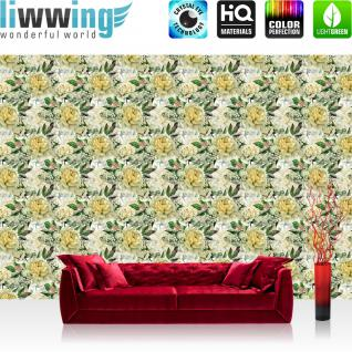 liwwing Vlies Fototapete 416x254cm PREMIUM PLUS Wand Foto Tapete Wand Bild Vliestapete - Blumen Tapete Rosen Blüten Natur klein gelb - no. 3548
