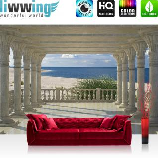 liwwing Vlies Fototapete 208x146cm PREMIUM PLUS Wand Foto Tapete Wand Bild Vliestapete - Meer Tapete Strand Marmor Säulen Wasser beige - no. 2868