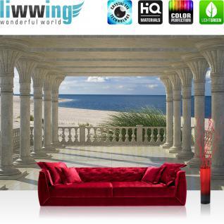 liwwing Vlies Fototapete 416x254cm PREMIUM PLUS Wand Foto Tapete Wand Bild Vliestapete - Meer Tapete Strand Marmor Säulen Wasser beige - no. 2868