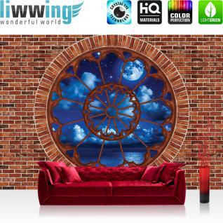 liwwing Vlies Fototapete 416x254cm PREMIUM PLUS Wand Foto Tapete Wand Bild Vliestapete - Steinwand Tapete Steinoptik Steine Himmel Sterne Mond Meer braun - no. 2632