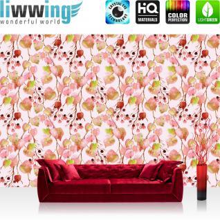 liwwing Fototapete 368x254cm PREMIUM Wand Foto Tapete Wand Bild Papiertapete - Texturen Tapete Herbst Blätter Beeren Zweige rot - no. 3469