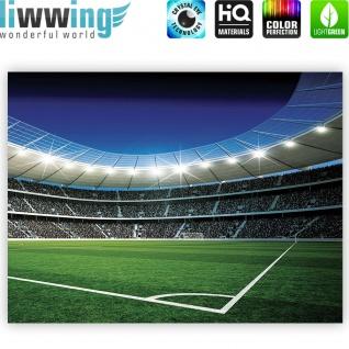 Leinwandbild Fußballstadion Eckpunkt Flutlicht Rasen Tor Tribüne Fans Lichter Sterne Nacht | no. 945 - Vorschau 4