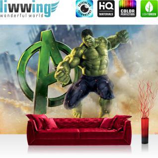 liwwing Fototapete 368x254 cm PREMIUM Wand Foto Tapete Wand Bild Papiertapete - Cartoon Tapete Marvel AVENGERS Hulk Monster Sand grün - no. 2541