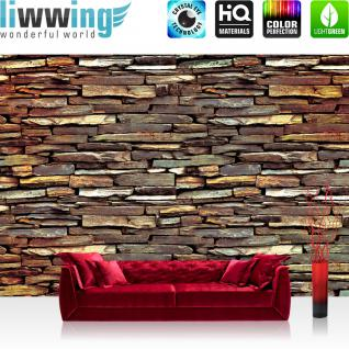 liwwing Vlies Fototapete 400x280 cm PREMIUM PLUS Wand Foto Tapete Wand Bild Vliestapete - Steinwand Tapete Steine Muster Mauer braun - no. 422