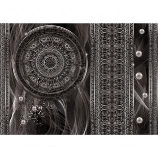 Fototapete Ornamente Tapete Traumfänger Mandala Geflecht Netz Perlen Linien anthrazit   no. 1525