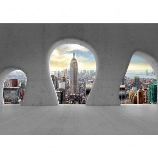 Fototapete New York Tapete Manhattan Städte Länder Skyline Steine Baustil Bauform grau | no. 2773