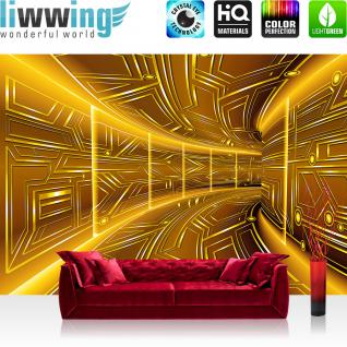 liwwing Vlies Fototapete 312x219cm PREMIUM PLUS Wand Foto Tapete Wand Bild Vliestapete - 3D Tapete Space Raumstation Micro gold - no. 3220