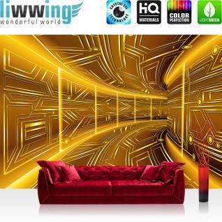 liwwing Vlies Fototapete 368x254cm PREMIUM PLUS Wand Foto Tapete Wand Bild Vliestapete - 3D Tapete Space Raumstation Micro gold - no. 3220