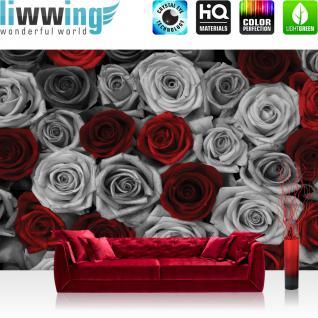 liwwing Fototapete 368x254 cm PREMIUM Wand Foto Tapete Wand Bild Papiertapete - Blumen Tapete Rosen Blume Blüte Pflanze Liebe grau - no. 2409