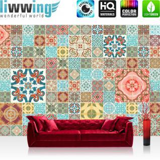 liwwing Vlies Fototapete 312x219cm PREMIUM PLUS Wand Foto Tapete Wand Bild Vliestapete - Illustrationen Tapete Abstrakt Muster Ornamente Kunst bunt - no. 3144