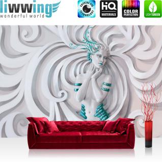 liwwing Vlies Fototapete 312x219cm PREMIUM PLUS Wand Foto Tapete Wand Bild Vliestapete - Kunst Tapete Abstrakt Kunst Schnörkel Frau weiß - no. 2524