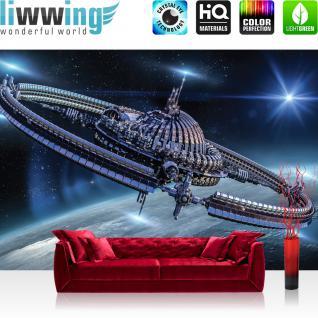 liwwing Vlies Fototapete 416x254cm PREMIUM PLUS Wand Foto Tapete Wand Bild Vliestapete - Welt Tapete Weltraum Weltall Sterne Universum Sonde Technik blau - no. 2021