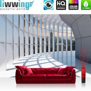 liwwing Vlies Fototapete 368x254cm PREMIUM PLUS Wand Foto Tapete Wand Bild Vliestapete - Skylines Tapete Manhattan Hudson River Wolkenkratzer Abend weiß - no. 3190