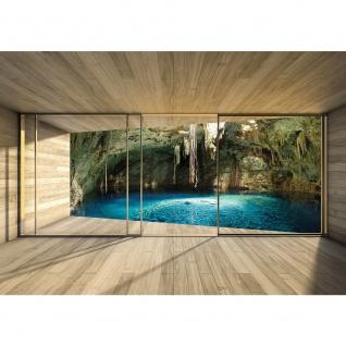 Fototapete Architektur Tapete Terrasse Balkon Fenster Holzwand See Höhle Wasser Licht braun | no. 1403