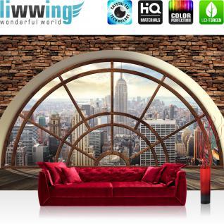 liwwing Vlies Fototapete 208x146cm PREMIUM PLUS Wand Foto Tapete Wand Bild Vliestapete - Manhattan Tapete Steinwand Raum Ausblick Manhattan New York braun - no. 1856