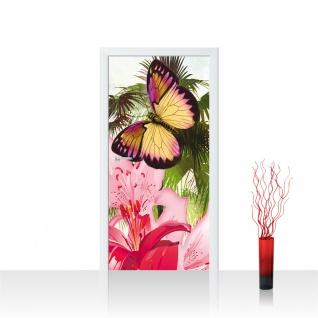 Türtapete - Blumen Palme Schmetterling | no. 1000