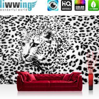 liwwing Vlies Fototapete 416x254cm PREMIUM PLUS Wand Foto Tapete Wand Bild Vliestapete - Tiere Tapete Leopard Muster Natur Kopf schwarz weiß - no. 2264