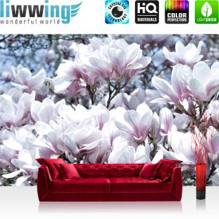 liwwing Vlies Fototapete 416x254cm PREMIUM PLUS Wand Foto Tapete Wand Bild Vliestapete - Blumen Tapete Blume Blüten Blätter Natur weiß - no. 1696