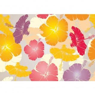 Fototapete Illustrationen Tapete Abstrakt Blüten Hawaii Blüten bunt orange | no. 1107