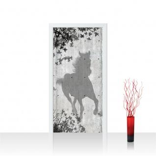 Türtapete - Holzwand Holzoptik Pferd Blätter Malerei Schatten | no. 916