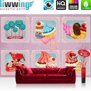 liwwing Vlies Fototapete 312x219cm PREMIUM PLUS Wand Foto Tapete Wand Bild Vliestapete - Kunst Tapete Bilderrahmen Eiscreme Donuts Cupcakes Lolli Süßware rosa - no. 1501