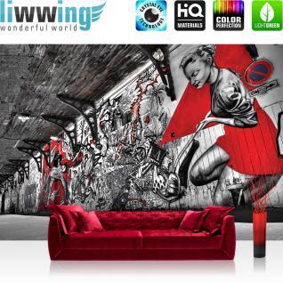 liwwing Fototapete 368x254cm PREMIUM Wand Foto Tapete Wand Bild Papiertapete - Graffiti Tapete Pop Art Street Art Bretterwand natural - no. 3359