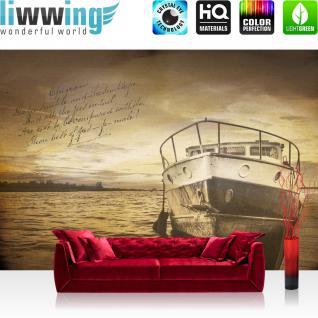 liwwing Vlies Fototapete 254x184cm PREMIUM PLUS Wand Foto Tapete Wand Bild Vliestapete - Meer Tapete See Boot Steg Gedicht gelb - no. 3520