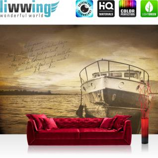liwwing Vlies Fototapete 312x219cm PREMIUM PLUS Wand Foto Tapete Wand Bild Vliestapete - Meer Tapete See Boot Steg Gedicht gelb - no. 3520
