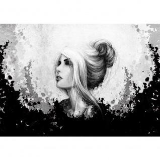 Fototapete Kunst Tapete Comic Art, Frau, Mädchen schwarz - weiß | no. 3555