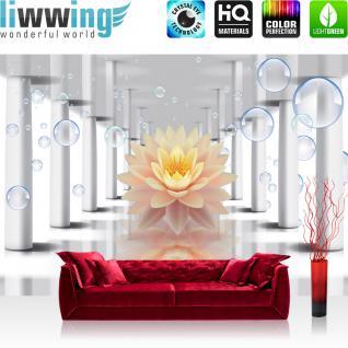liwwing Vlies Fototapete 416x254cm PREMIUM PLUS Wand Foto Tapete Wand Bild Vliestapete - Kunst Tapete Blumen Blüten Blasen Spiegelung SäulenKunst grau - no. 2549
