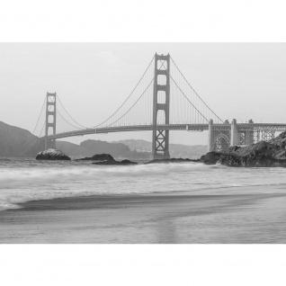 Fototapete Natur Tapete Wasser Meer Stadt Ausblick Strand Sand Fels Gate Bridge grau | no. 4323