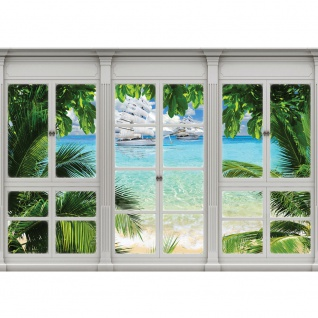 Fototapete Meer Tapete Palmen, Segelschiffe, Yachten, Karibik, Südsee natural   no. 3419