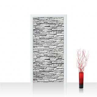 Türtapete - Noble Stone Wall - grau Steinwand Steinoptik Verblendsteine Wandverblender | no. 144