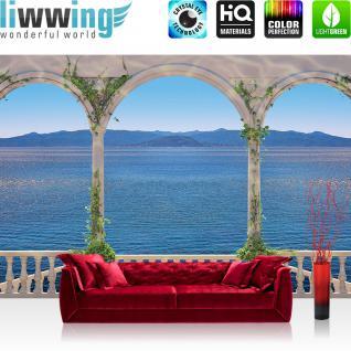 liwwing Vlies Fototapete 416x254cm PREMIUM PLUS Wand Foto Tapete Wand Bild Vliestapete - Meer Tapete Terasse Säulen Meer Berge blau - no. 1313