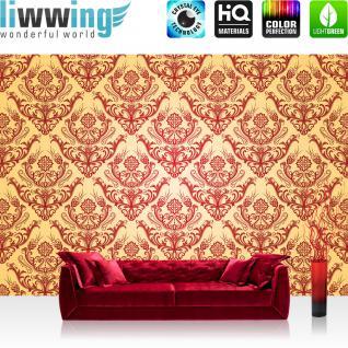 liwwing Fototapete 254x168 cm PREMIUM Wand Foto Tapete Wand Bild Papiertapete - Ornamente Tapete Ornamente Muster Luxus Edel Barock gelb - no. 1053
