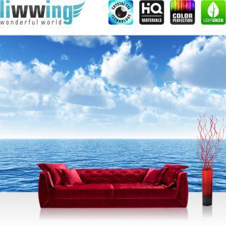 liwwing Vlies Fototapete 350x245 cm PREMIUM PLUS Wand Foto Tapete Wand Bild Vliestapete - Ozean Meer Wasser See Welle Sturm Blau Türkis - no. 152