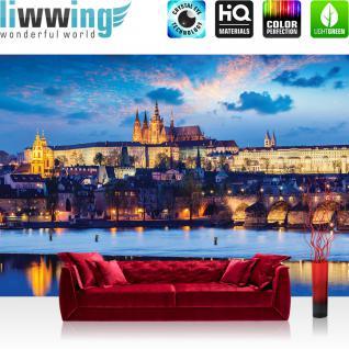 liwwing Fototapete 368x254 cm PREMIUM Wand Foto Tapete Wand Bild Papiertapete - Landschaft Tapete Schloss See Himmel Licht Wasser Spiegelung blau - no. 3028